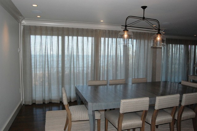 Drapes and soft treatments modern dining room for Modern dining room window treatments