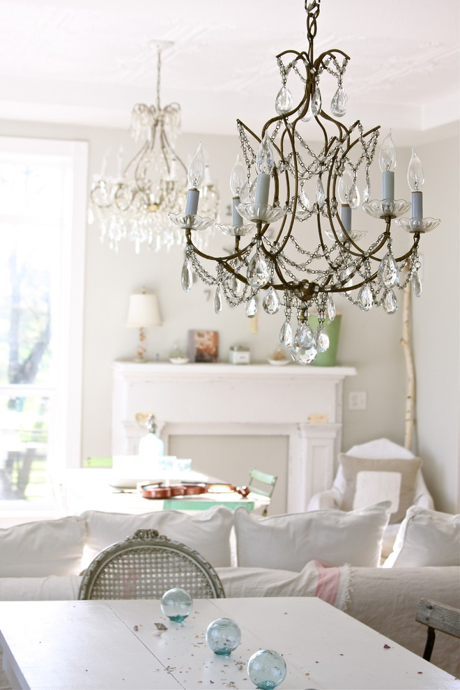 Example of a cottage chic dining room design in Other