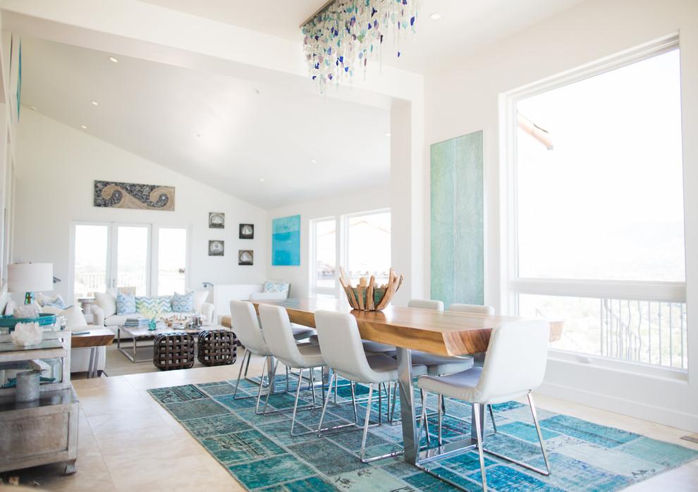 Coastal great room photo in Santa Barbara with white walls