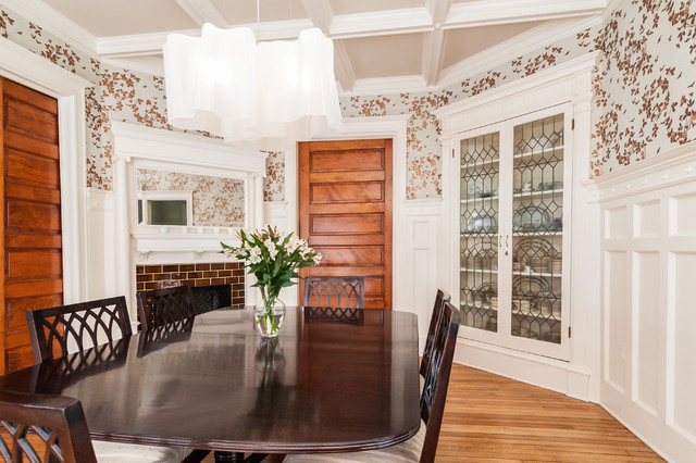 Inspiration For A Victorian Medium Tone Wood Floor Dining Room Remodel In  DC Metro With A