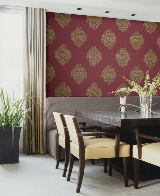 Duchess Red Damask Wallpaper Traditional Dining Room Other Metro