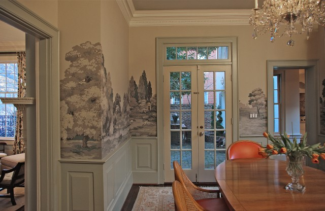 Duke street alexandria eclectic dining room for Dining room mural wallpaper