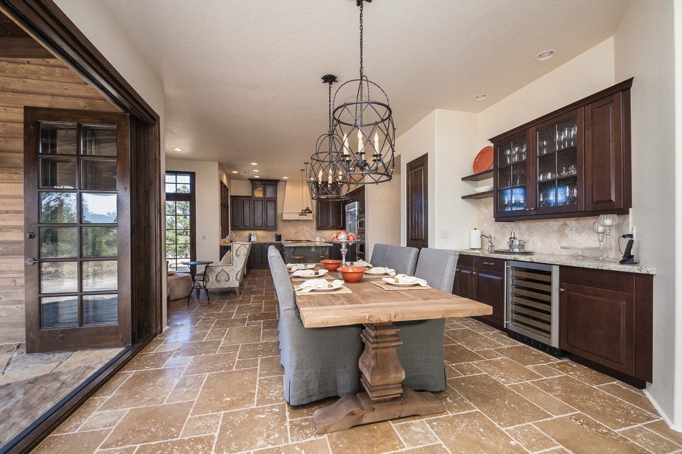 Inspiration for a timeless kitchen/dining room combo remodel in Phoenix with beige walls