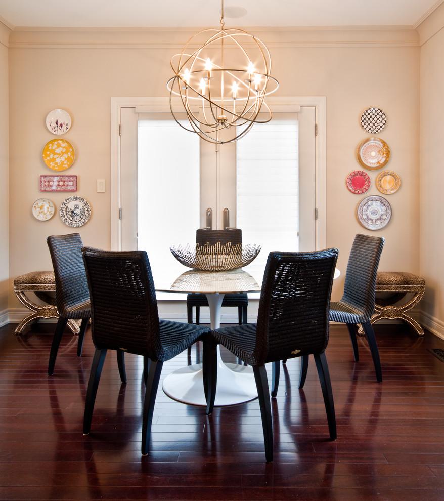 Trendy dark wood floor dining room photo in Toronto with beige walls