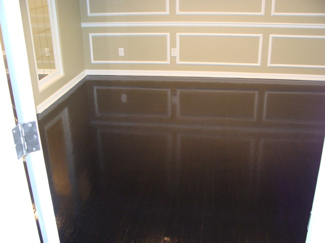 Ebony high gloss wood floors modern dining room for Hardwood floors kansas city