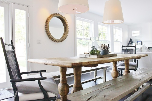 Eclectic Coastal Farmhouse Country Dining Room