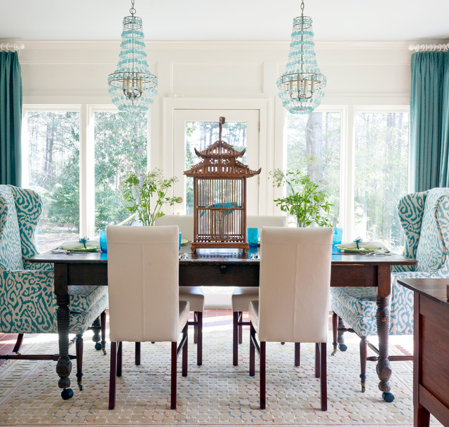 Inspiration For An Eclectic Beige Floor Dining Room Remodel In Other With White Walls