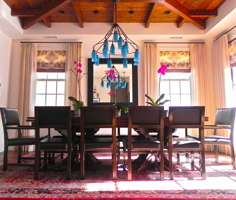 Eclectic dining room photo in Los Angeles with white walls