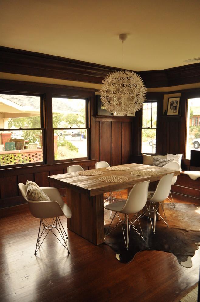 1960s dark wood floor dining room photo in San Diego