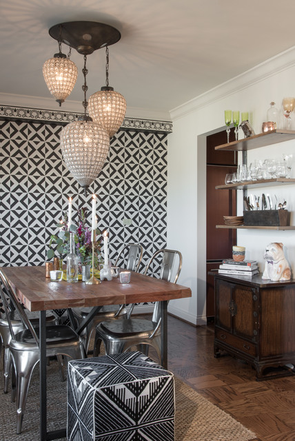 eclectic dining room in st louis high rise condo