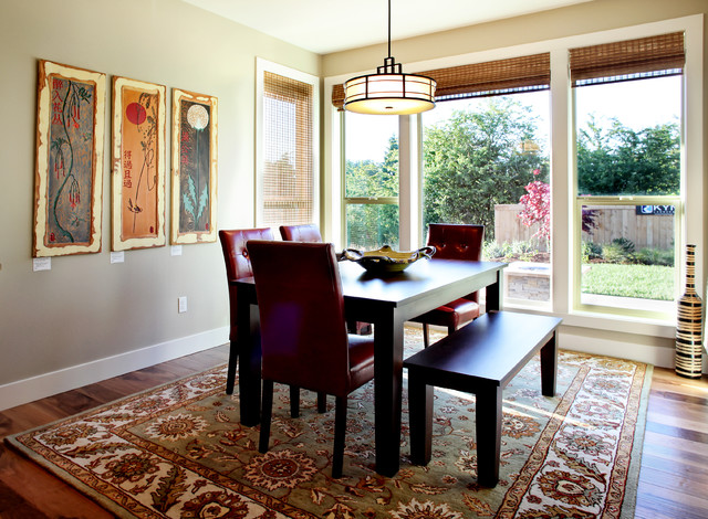 Eclectic dining room with windows for Dining room windows