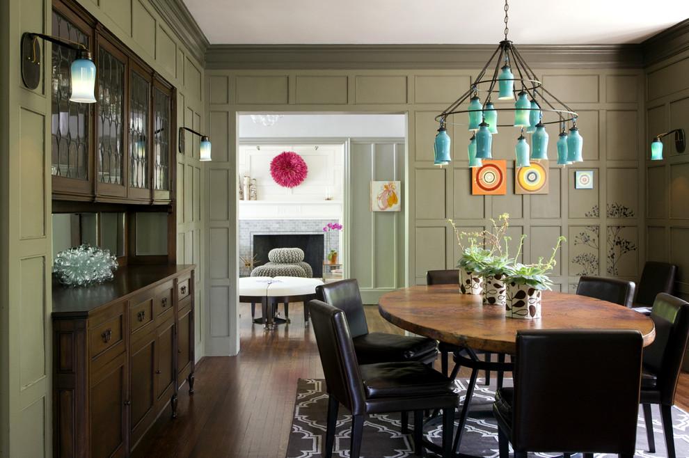 Dining room - traditional dark wood floor dining room idea in Boston with green walls