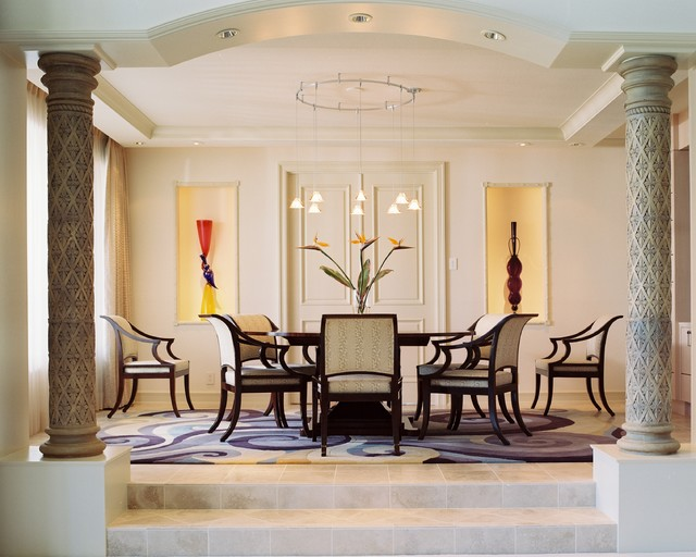 Inspiration for a huge eclectic travertine floor kitchen/dining room combo remodel in Phoenix with no fireplace and beige walls