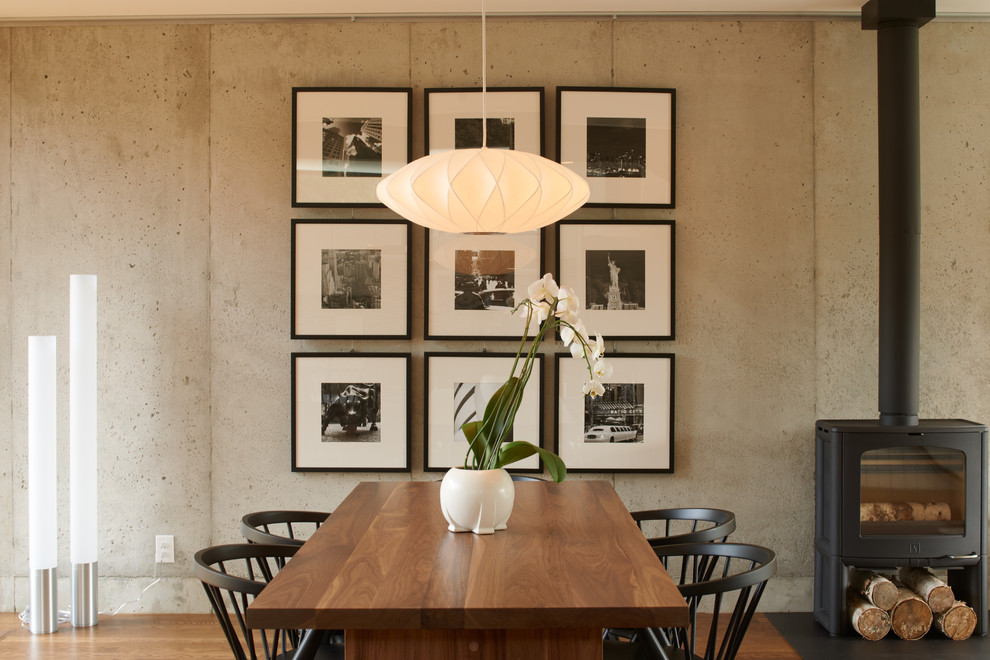 Dining room - contemporary dark wood floor dining room idea in Minneapolis with gray walls and a wood stove