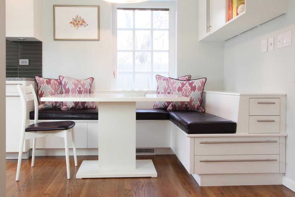 Kitchen/dining room combo - mid-sized contemporary medium tone wood floor kitchen/dining room combo idea in Philadelphia