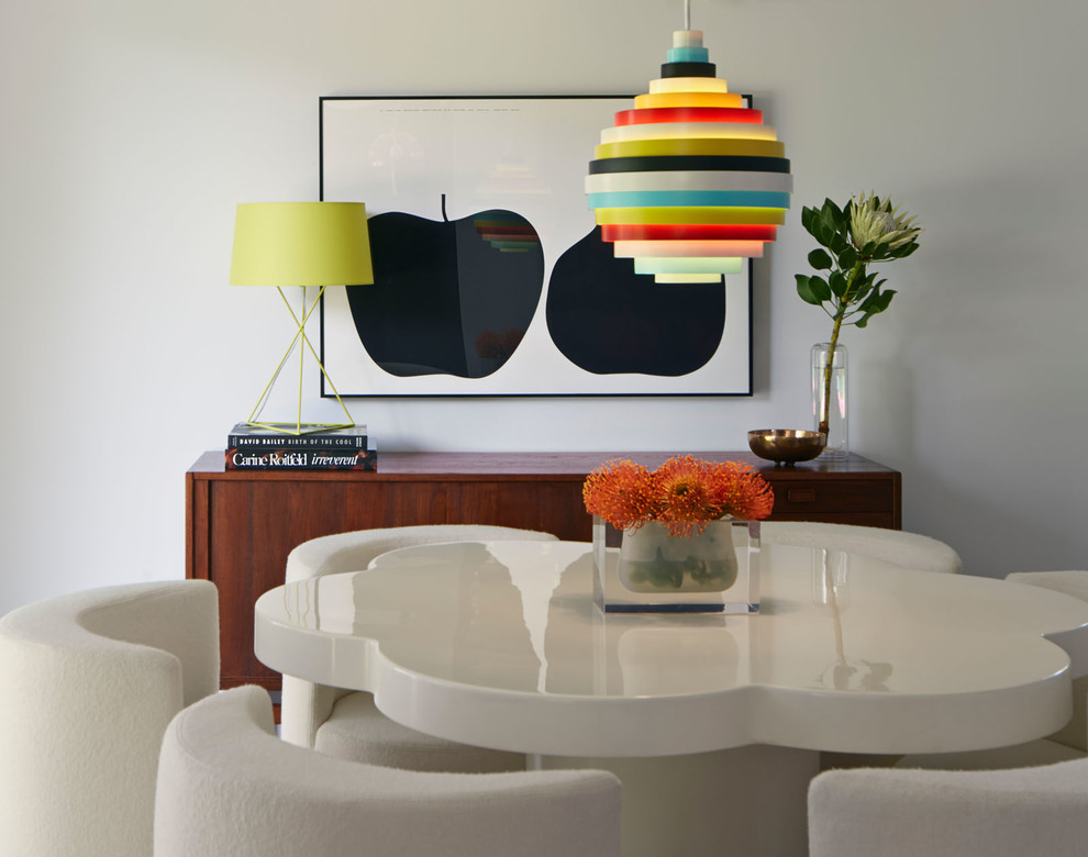 1960s dining room photo in San Francisco with white walls