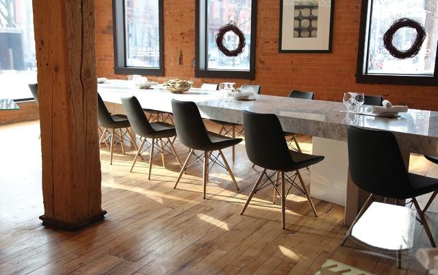 Eiffel Wood Chair Contemporary Dining Room Orange