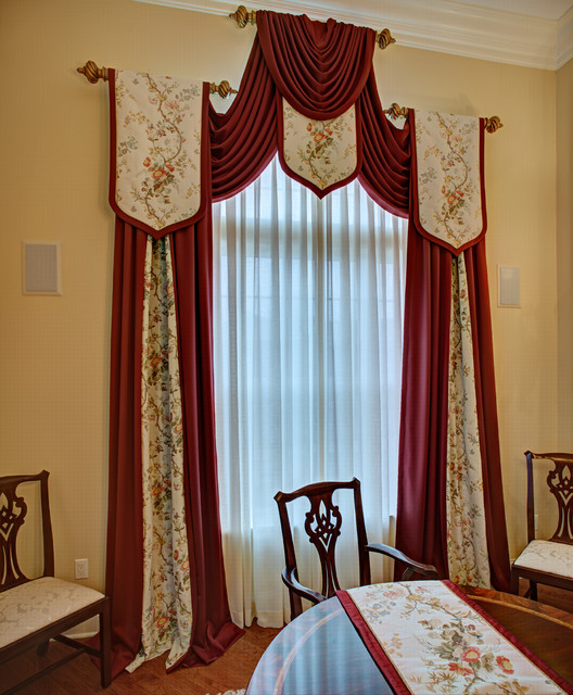 Window Treatment For Dining Room: Elegant Custom Window Treatments Traditional-dining-room