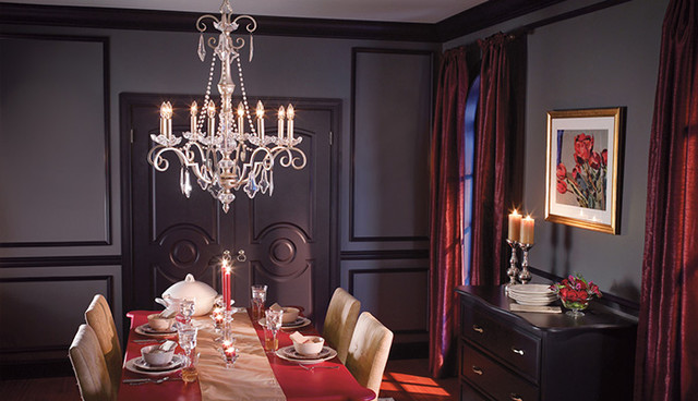 Elegant Elegant Dining Room, Crystal Chandelier Traditional Dining Room