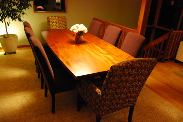 Elegent African Mahogany Table With Double Pedestal Base Modern Dining Room