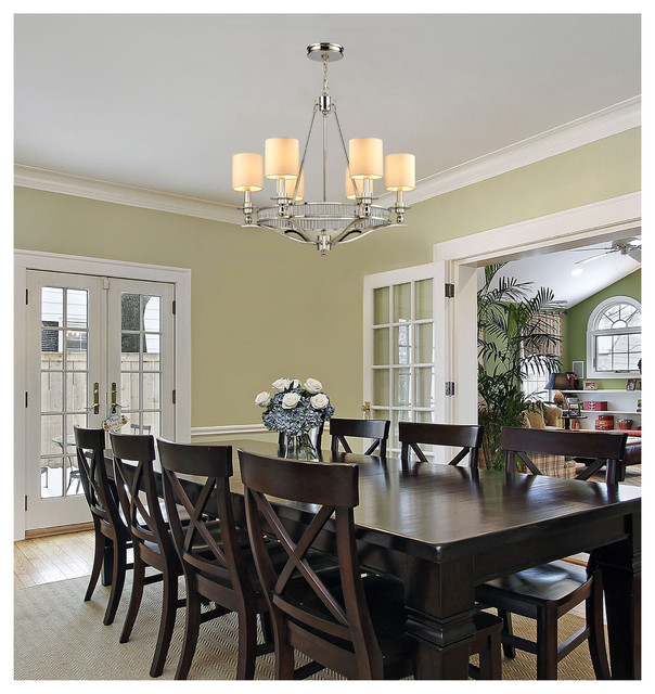 ELK Lighting 10167 6 Easton Polished Nickel Light Chandelier Transitional Dining Room