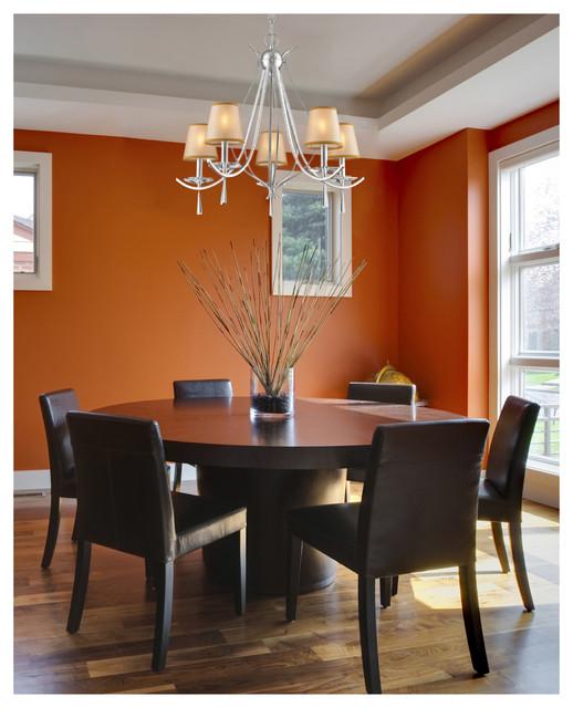 Transitional Dining Room Chandeliers: ELK Lighting 14082/5 Clarendon Silver 5 Light Chandelier
