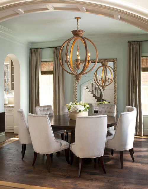 Traditional Dining Room In Light Blue, White, And Gold