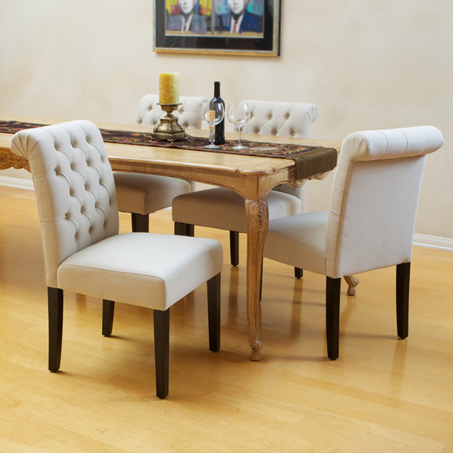 Elmerson tufted ivory linen dining chair set of 2 modern dining room