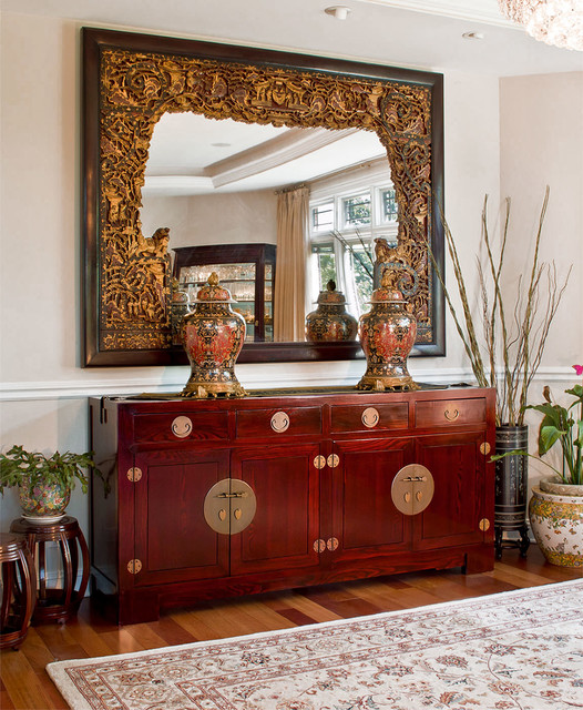 Elmwood Mahogany Sideboard And Antique Mirror Asian Dining