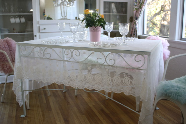 EMBROIDERED SHEER FABRIC   Creations   Beautiful TableCloth  Farmhouse Dining Room