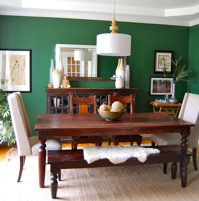Emerald Green Dining Room Contemporary