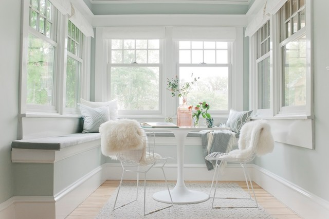 Emily Henderson Curbly Sunroom With Blinds Roman Shades Eclectic Dining Room