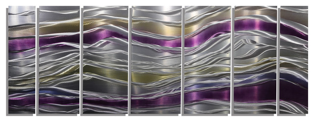 Endeavor abstract purple silver and gold modern metal wall decor modern dining room Purple and gold bathroom accessories