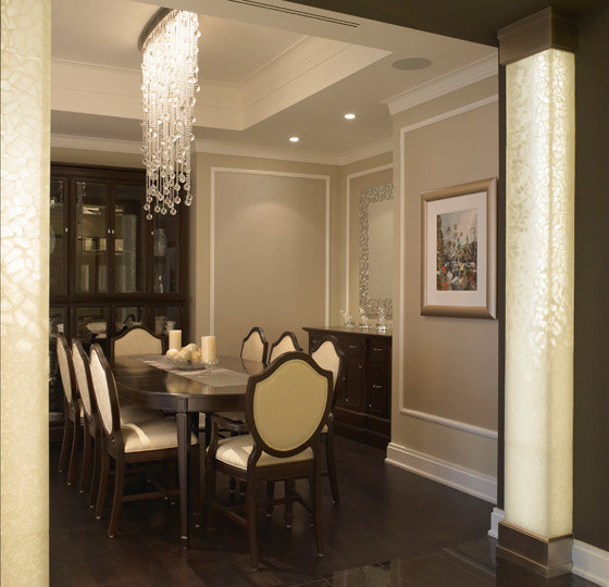 Entrance to dining room with custom column detail for Dining room entrance