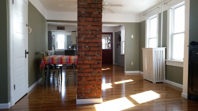Exposed Chimney From Living Room Country Dining