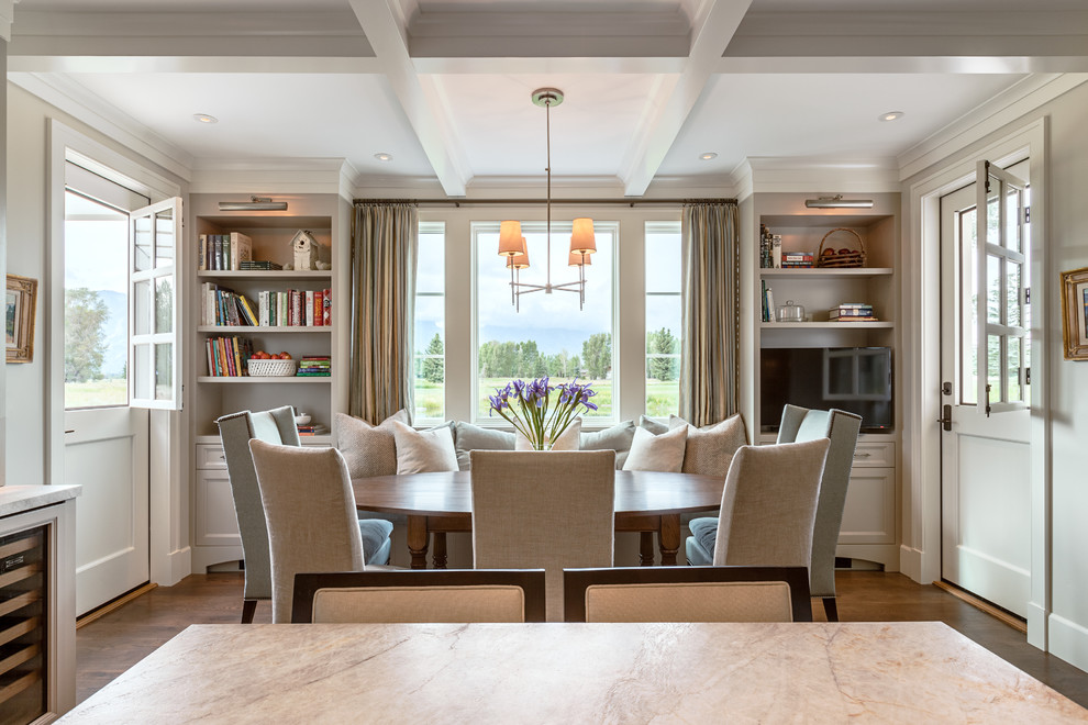 Inspiration for a transitional dark wood floor kitchen/dining room combo remodel in Other with gray walls