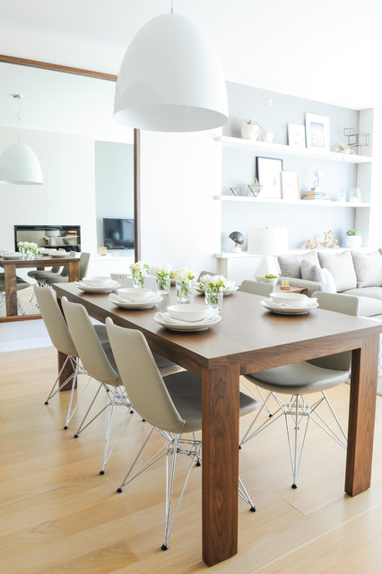 Dining room - scandinavian light wood floor dining room idea in Vancouver with white walls and no fireplace