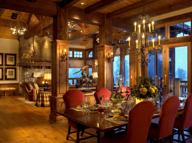 Family Ski Lodge Rustic Dining Room Denver By