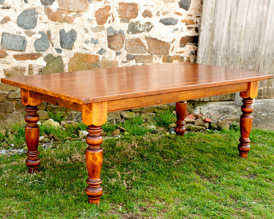 """Farm Tables - Farm house table made of reclaimed yellow pine barn wood, dimensions 84"""" x 40"""" x 1.5"""" thick"""