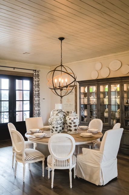 Dining room - mid-sized farmhouse medium tone wood floor dining room idea in Oklahoma City with white walls