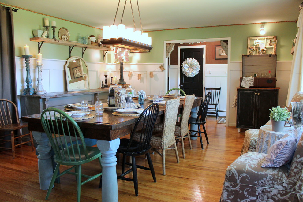 Dining room - shabby-chic style medium tone wood floor dining room idea in Philadelphia with green walls