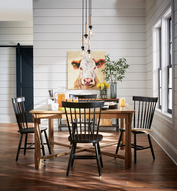 Attirant Dining Room   Farmhouse Dark Wood Floor And Brown Floor Dining Room Idea In  Other With