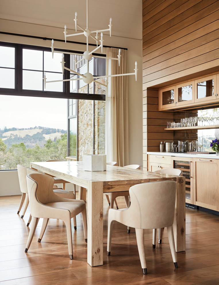 Country medium tone wood floor dining room photo in San Francisco with white walls and no fireplace