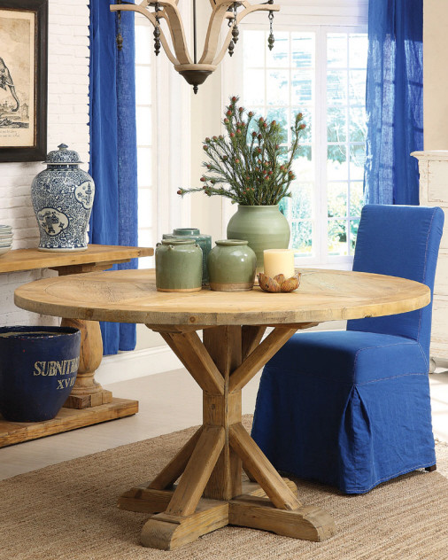 Farmhouse Round Dining Table 55 Traditional Dining Room