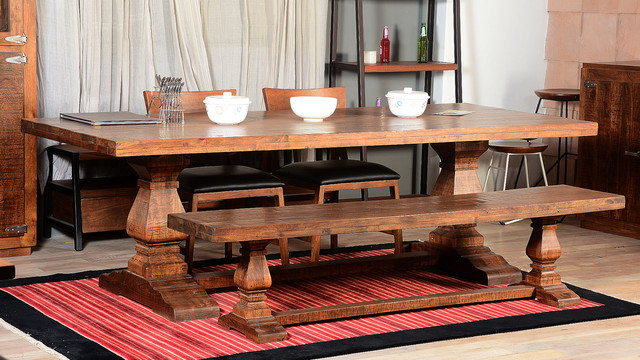 Farmhouse Trestle Traditional Rustic Dining Table Bench Rustic Dini