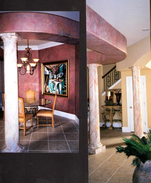 Faux finish walls and marbelized columns contemporary-dining-room