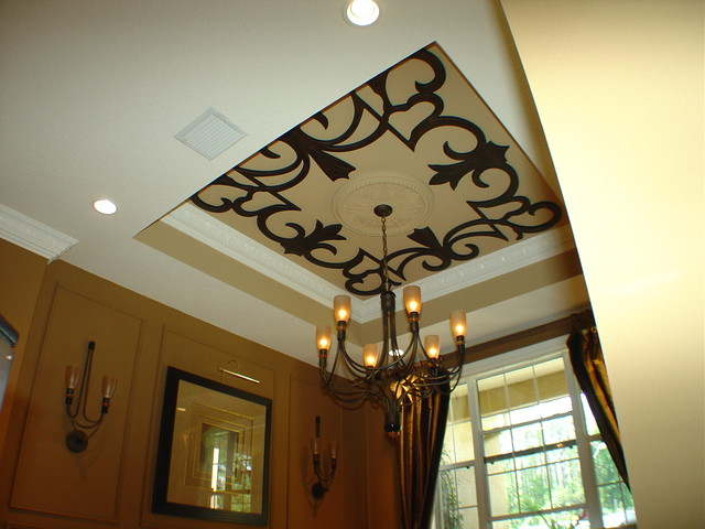 Faux iron ceiling and wall decor traditional dining for Houzz dining room wall art