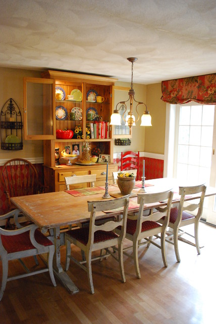 Faux Painted Harlequin, Rustic Antique Farm Table, Red Kitchen