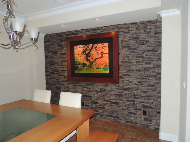 Faux Stone Accent Walls Contemporary Dining Room