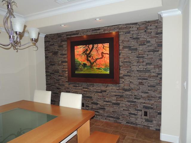 Faux Stone Accent Walls Contemporain Salle A Manger
